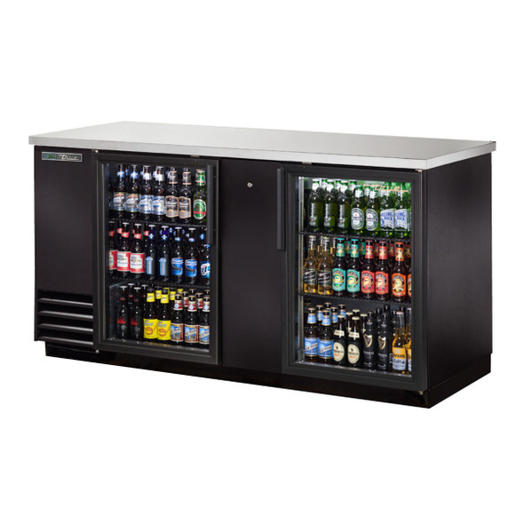 "Front angle view of the True TBB-3G-HC-LD 69"" Glass Door Back Bar Cooler"