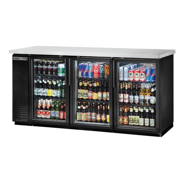 True TBB-24-72G-HC-LD Glass Door Back Bar Cooler stocked with tasty beverages
