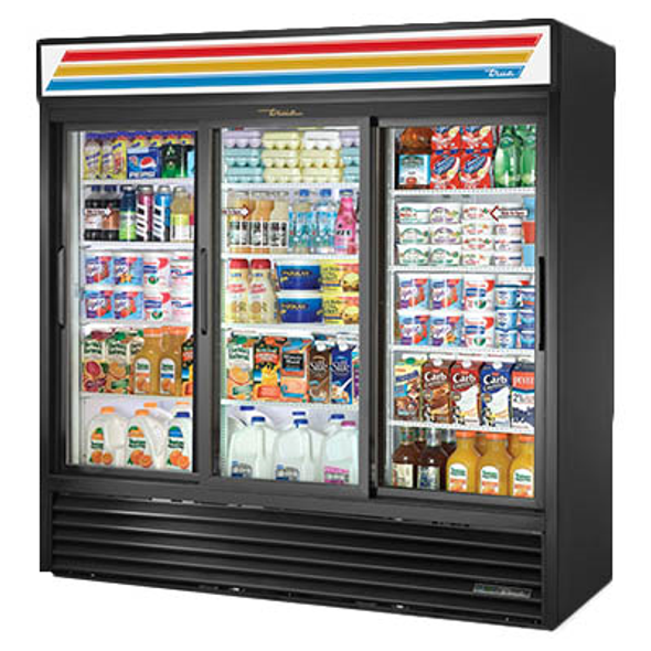 True GDM-69-HC-LD-BLK Refrigerated Sliding Glass Three Door Merchandiser