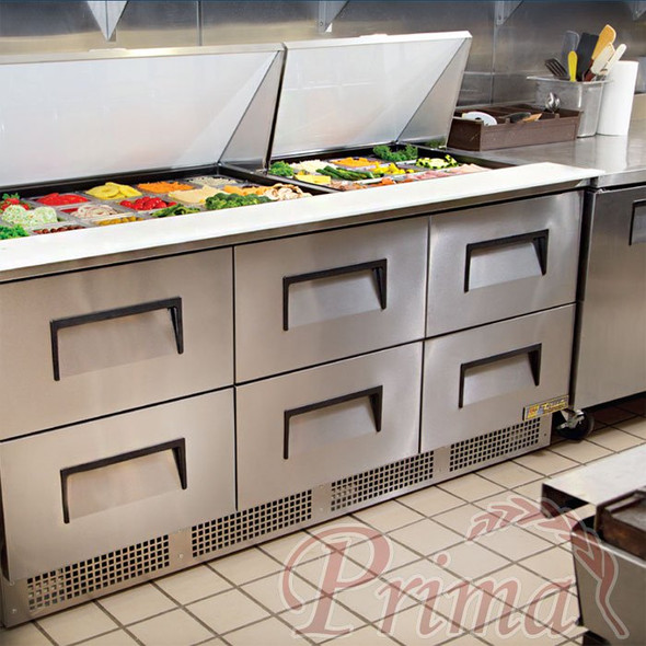 True front breathing food prep table with drawers