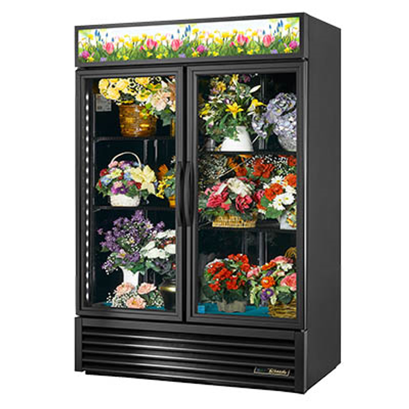 True GDM-49FC-HC~TSL01 Glass Swing Two-Door Floral Case