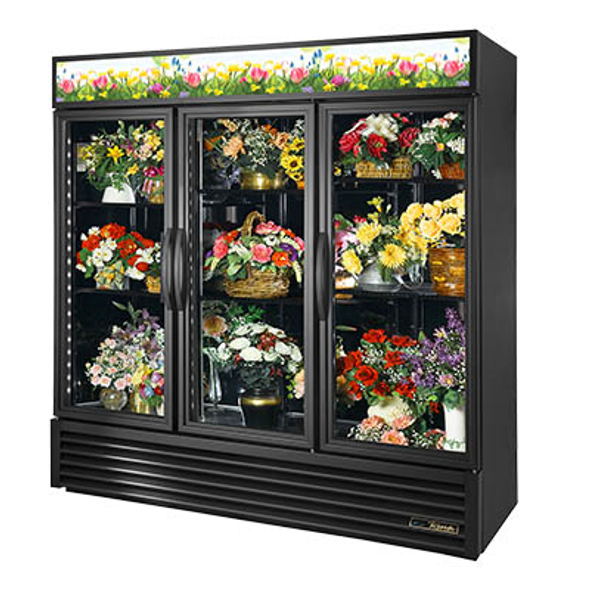 True GDM-72FC-HC~TSL01 Glass Swing Three-Door Floral Case