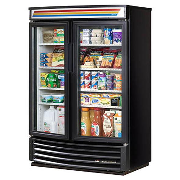 True GDM-35SL-RF-LD Glass Swing Two-Door, Slim Line, Radius Front Merchandising Refrigerator