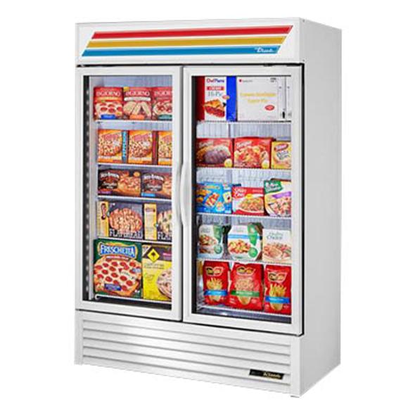 True GDM-49F-HC~TSL01 Glass Swing Two-Door Merchandising Freezer