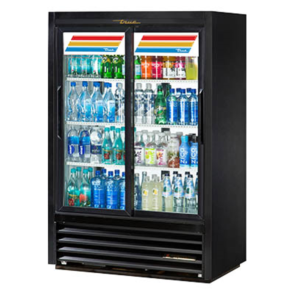 True GDM-33CPT-LD Lower Height, Narrow Depth, Fast Lane, Pass-Thru, Sliding Glass Door Merchandising Refrigerator