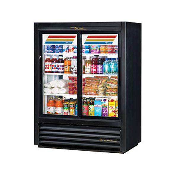 True GDM-33CPT-54-LD Lower Height, Narrow Depth, Fast Lane, Pass-Thru, Sliding Glass Door Merchandising Refrigerator
