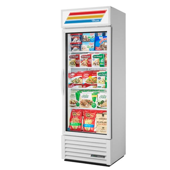 True GDM-19T-F-HC~TSL01 Glass Swing Door Merchandising Freezer