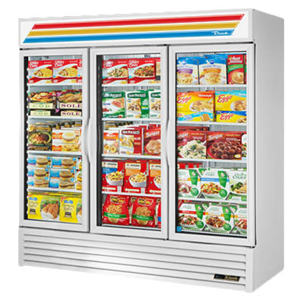 True GDM-72F-HC~TSL01 Glass Swing Three-Door Merchandising Freezer