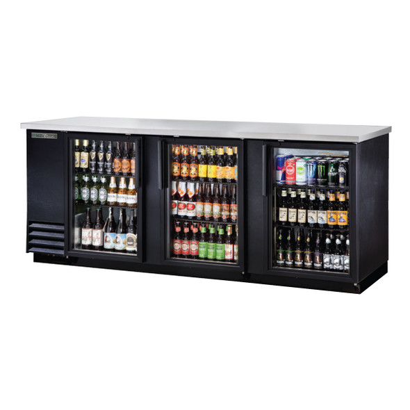 "Front view of True's TBB-4G-HC-LD 91"" Glass Door Back Bar Cooler"