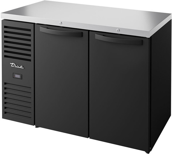 Front view of True's TBR48-RISZ1-L-B-SS-1  Food-Rated Back Bar Cooler