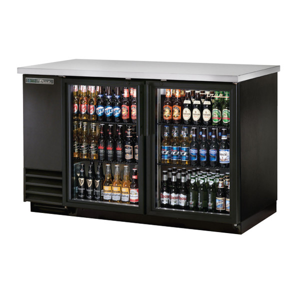 Front view of the True TBB-2G-HC-LD Glass Door Back Bar Cooler