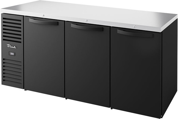 True's TBR72-RISZ1-L-B-SSS-1 Food-Rated Back Bar Cooler sitting on a white background