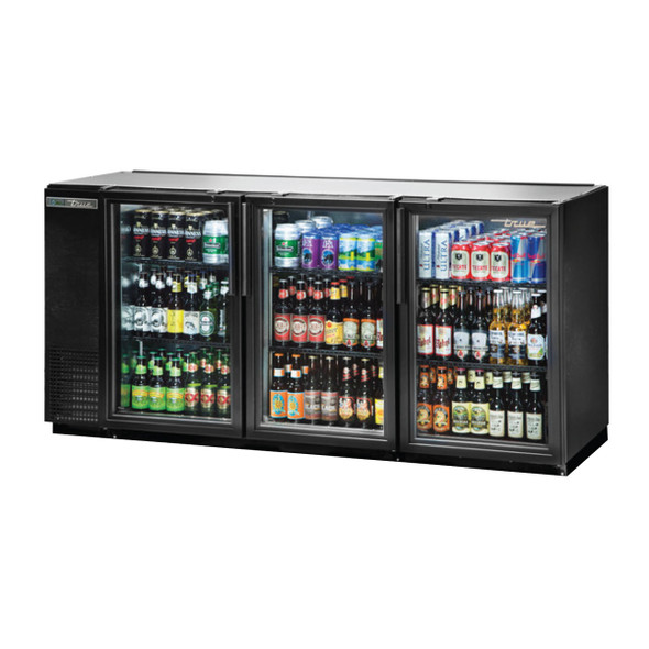 True TBB-24GAL-72G-HC-LD 3 Glass Door Back Bar Cooler holding beverages