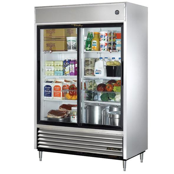 True TSD-47G-LD 47 Cu. Ft. Sliding Glass Door SS Refrigerator