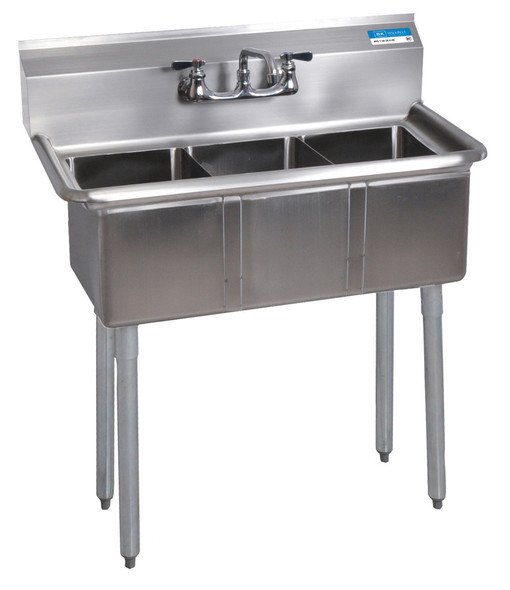 """BK Resources BK-3-1014-10 - Three Compartment Sink - 35.5"""" d, 19.81"""" w"""