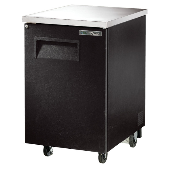 Front angle view of True's TBB-1-HC 23-inch Solid Door Back Bar Cooler