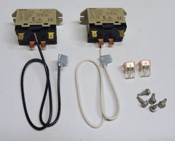 Image of the wires, connectors, and two relays in the True 938218 relay kit.