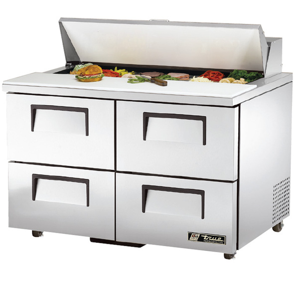 "TSSU-48-12D-4 True 48"" 12 Bin 4 Drawer Sandwich/Salad Prep Table"