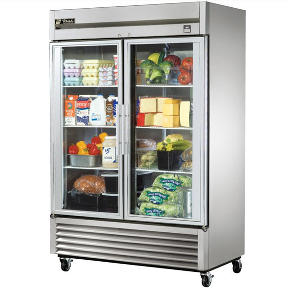TS-49G True 49 Cu. Ft. Stainless Steel 2 Glass Door Refrigerator