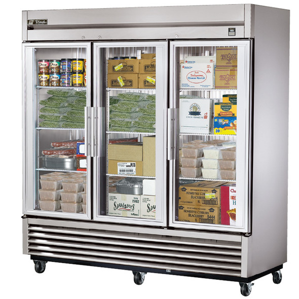 TS-72FG True 72 Cu. Ft. 3 Glass Door Stainless Steel Freezer