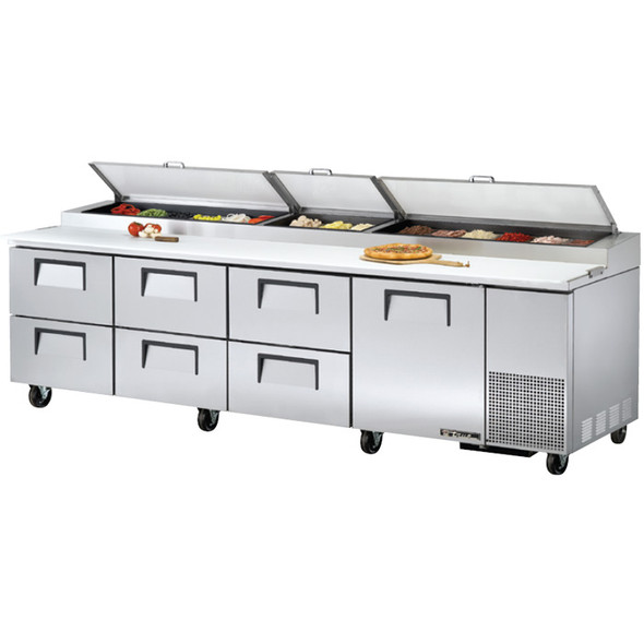 """TPP-AT-119D-6-HC True 119"""" Pizza Prep Table w/ 6 Drawers"""