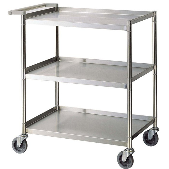 "28""x18""x33.5"" Stainless Steel Three Shelf Bus Cart - Economy"