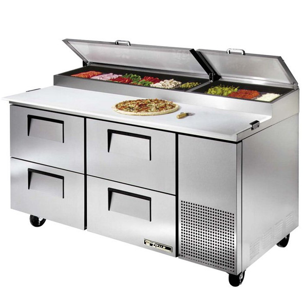 "TPP-67D-4 True 67"" Pizza Prep Table w/ 4 Drawers"