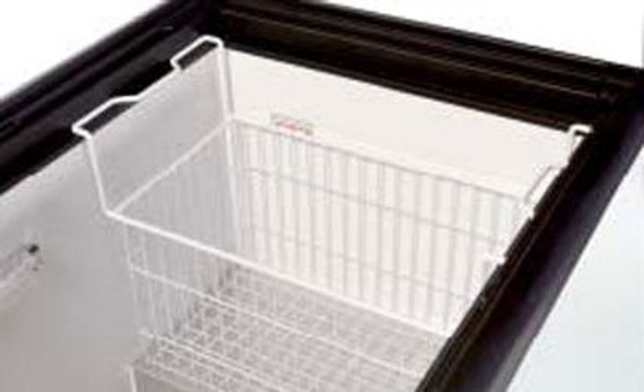 Image of the True 909404 freezer novelty basket hanging in a horizontal freezer.