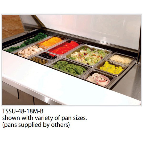 "True TSSU-48-18M-B-HC - 48"" 18 Bin Sandwich/Salad Prep Table"