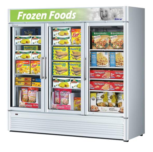 Turbo Air TGF-72SDW-N 60.43 cu. ft. Glass Door Merchandising Freezer White