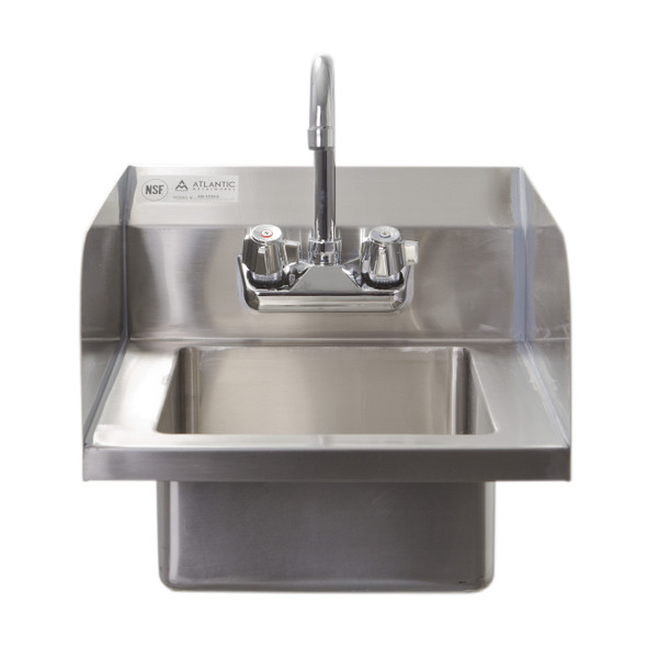 Atlantic Metalworks HS-1210-5-SS Wall Mounted 2 Hole Hand Sink with Side Splashes