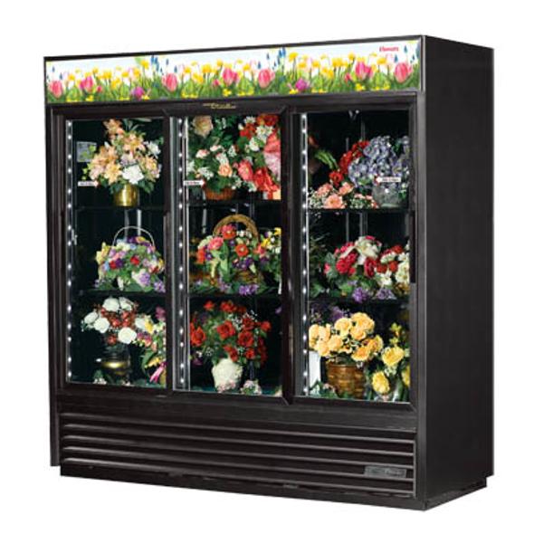 True GDM-69FC-HC-LD Glass Sliding Three-Door Floral Case