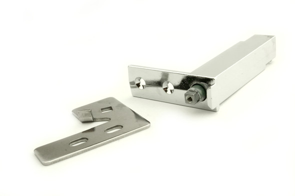 Close-up of the bracket and Kason 1556-570-54 cartridge spring in the 870838 True door hinge kit