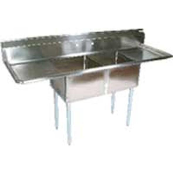Atlantic Metalworks 2CS-162012-2 - 16 x 20 x 12 Economy 2 Compartment 2 Drainboard Sink
