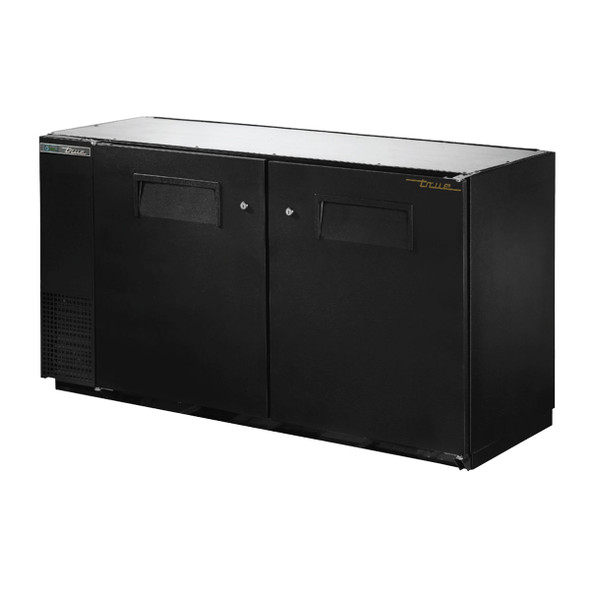 """Angled front view of True's TBB-24GAL-60-HC 24"""" Depth Back Bar Cooler"""