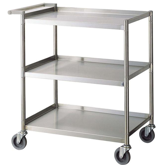 "24""x15""x33.5"" Stainless Steel Three Shelf Bus Cart - Economy"