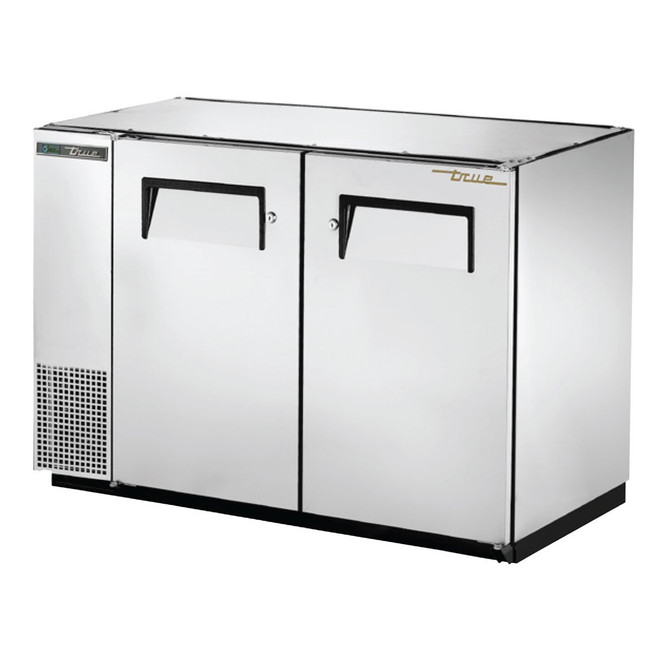 Front angle shot of True's TBB-24GAL-48-S-HC Stainless Steel Back Bar Cooler