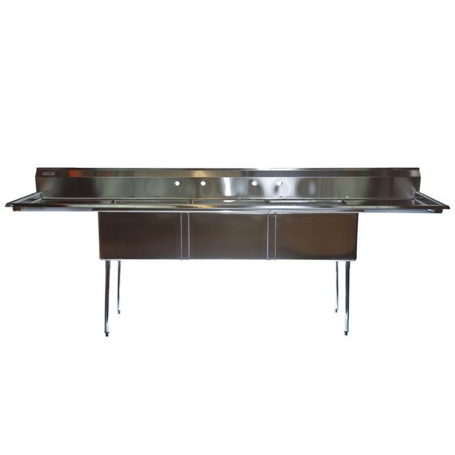 Atlantic Metalworks 3CS-242414-2 - 24x24x14 2 Drainboard 3 Bowl Sink