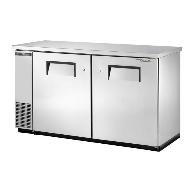 True's TBB-24-60-S-HC Stainless Steel Bar Back Cooler standing against a white backdrop
