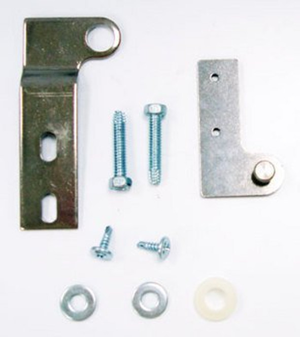 Image of all the components in the True 879255 center door top hinge kit.