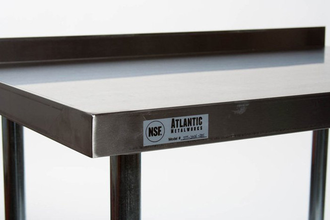 Atlantic Metalworks Stainless Steel Commercial Work Table countertop corner