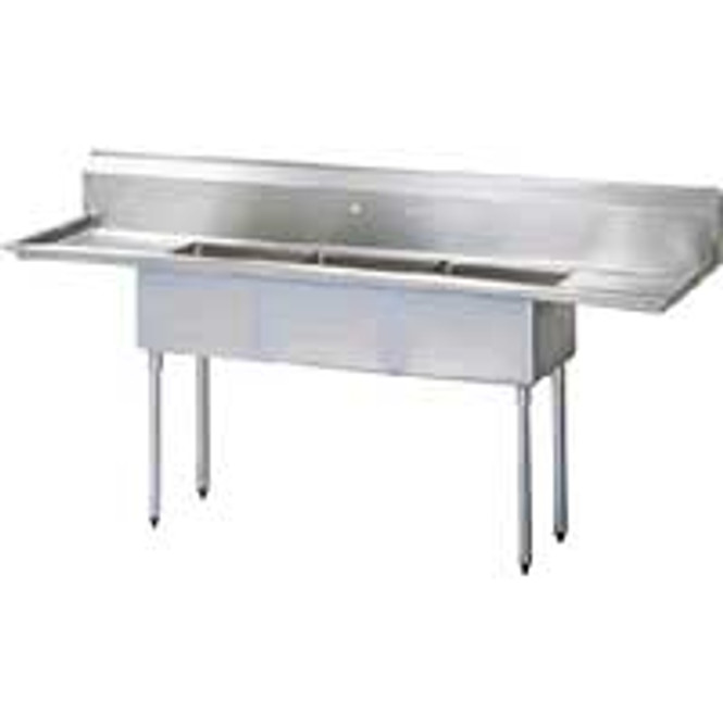 Turbo Air TSA-4-D1 - 4 Comp Sink 18x18x11 Bowls 2 Drainboards