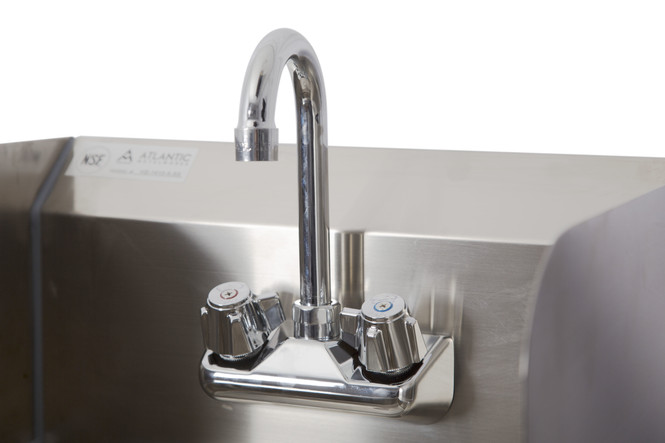 Atlantic Metalworks 2-Hole Hand Sink with Side Splash and Wall Mount