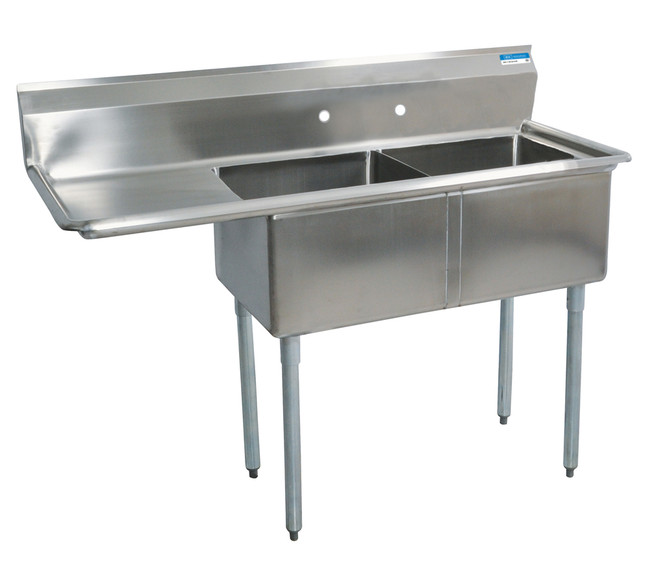 BK Resources BKS-2-24-14-24 - 24 x 24 x 14 Bowls - 1 Drainboard - 2 Compartment Sink