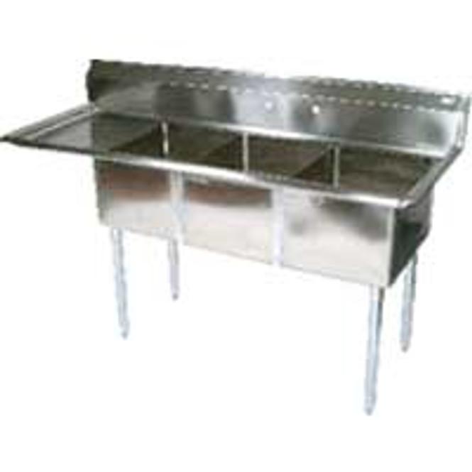 BK Resources BKS-3-1824-14-24L - 3 Bowl Sink 18x24x14 1 Drainboard