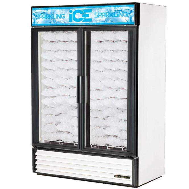 GDIM-49NT-LD True 49 Cu. Ft. 2 Glass Door Ice Merchandiser w/o Tank