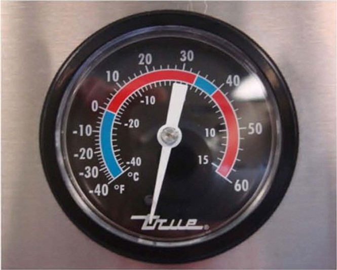 True T-43-HC Commercial Refrigerator temperature gauge.