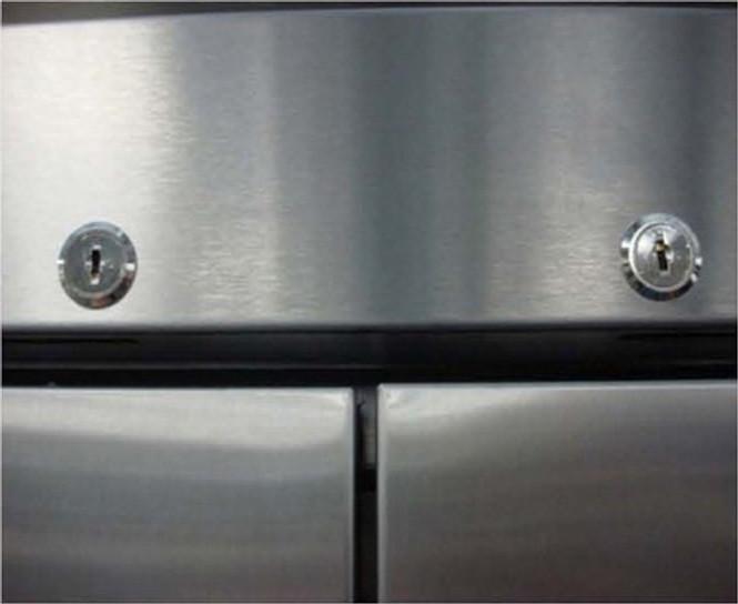 Two locks on True's T-Series reach-in