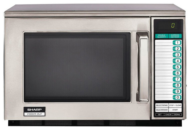 Front view of Sharp's R-25JTF 2100W Microwave w/ Touchpad