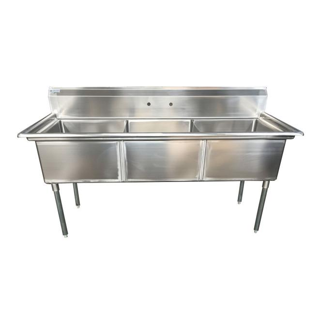 Atlantic Metalworks 24 x 24 x 14 Bowls - No Drainboard - 3 Compartment Sink